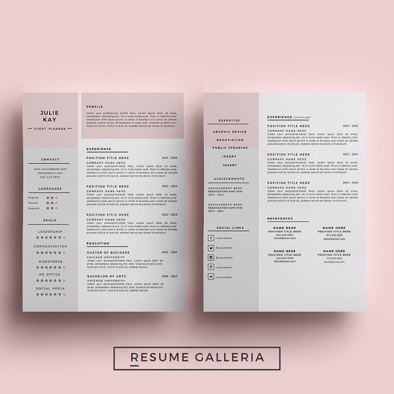 Resume Template 3 page pack CV Template + Cover Letter for MS Word