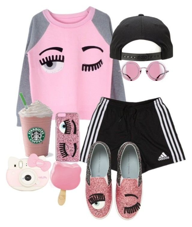 """California flirt"" by a-kisses ❤ liked on Polyvore featuring adidas, Chiara Ferragni and Hello Kitty"