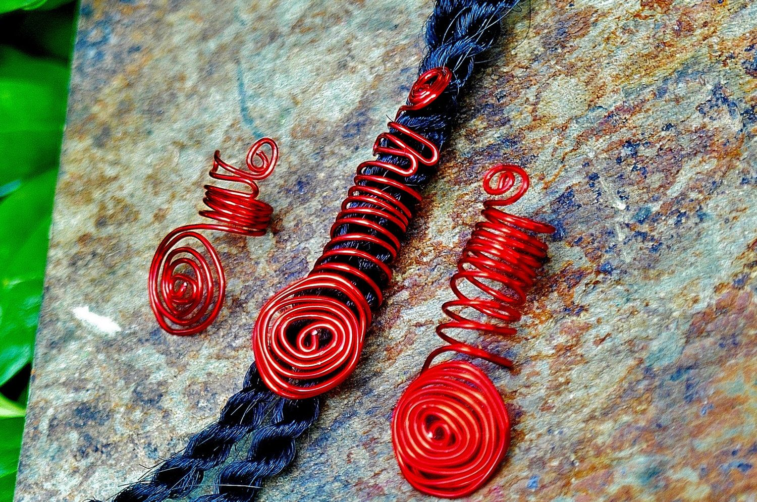 Loc Coils, Natural Hair Jewelry, Loc Beads, African Hair Jewelry, Locs, Red Loc Jewels, Loc Star, Dreadloc Jewelry, Locs, Locks, Loc Jewels by ZenCustomJewelry on Etsy https://www.etsy.com/listing/237402501/loc-coils-natural-hair-jewelry-loc-beads