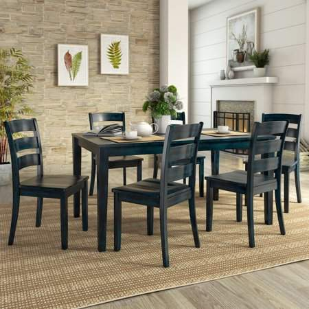 Enjoyable Weston Home Lexington Large Dining Set With 6 Ladder Back Customarchery Wood Chair Design Ideas Customarcherynet