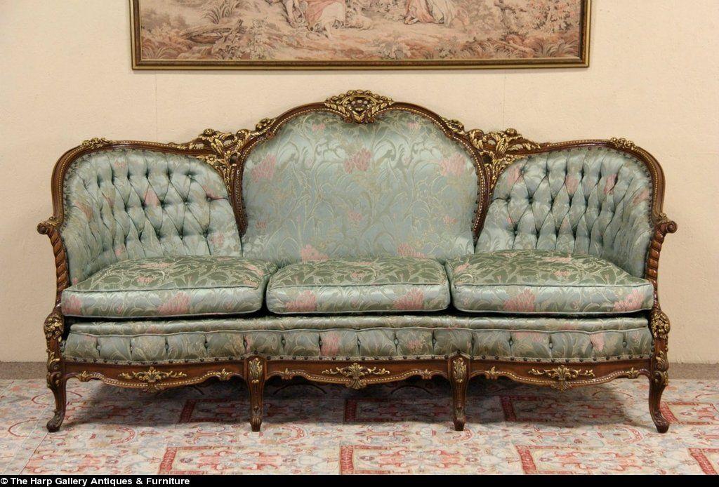 French Style Carved 1940 S Vintage Sofa Original Vintage Sofa