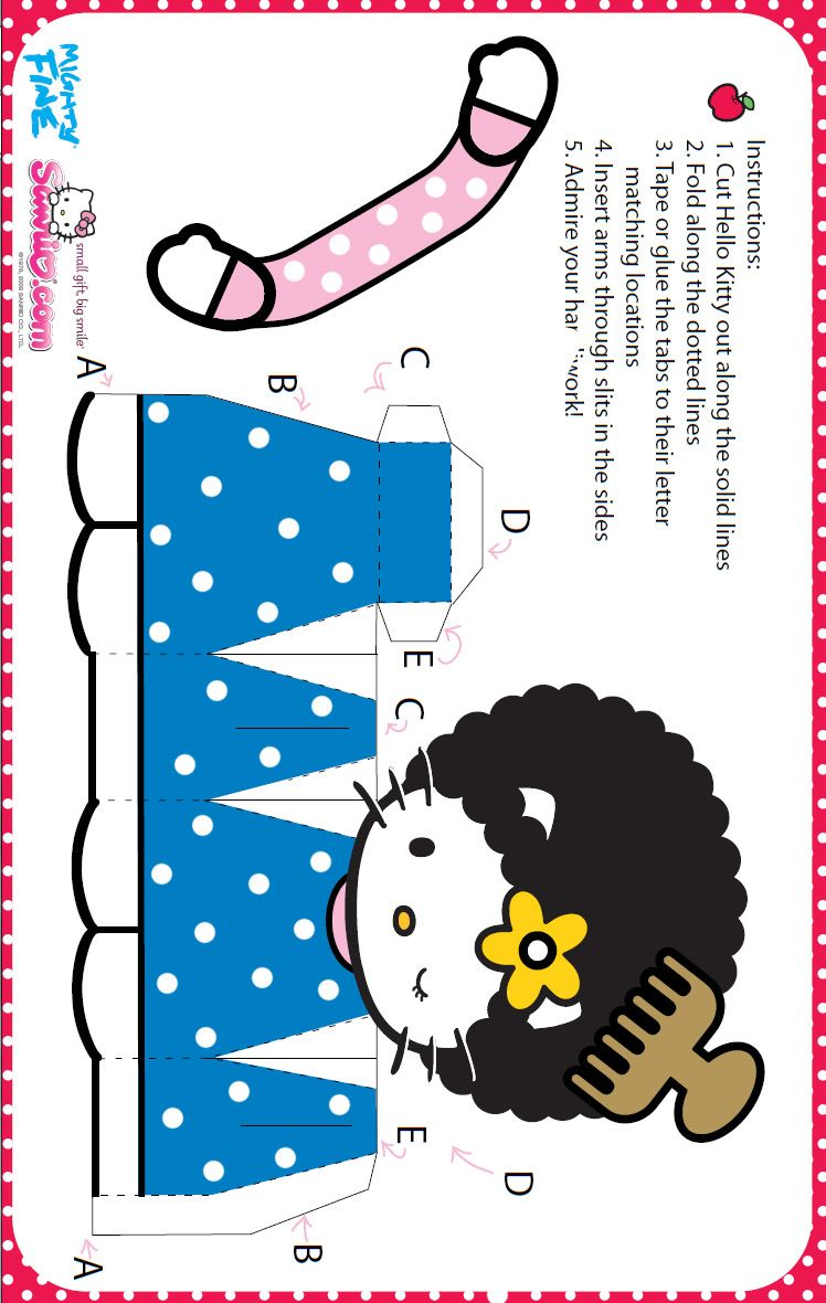 hello kitty coloring: hello kitty paper craft 3 d doll | hello kitty