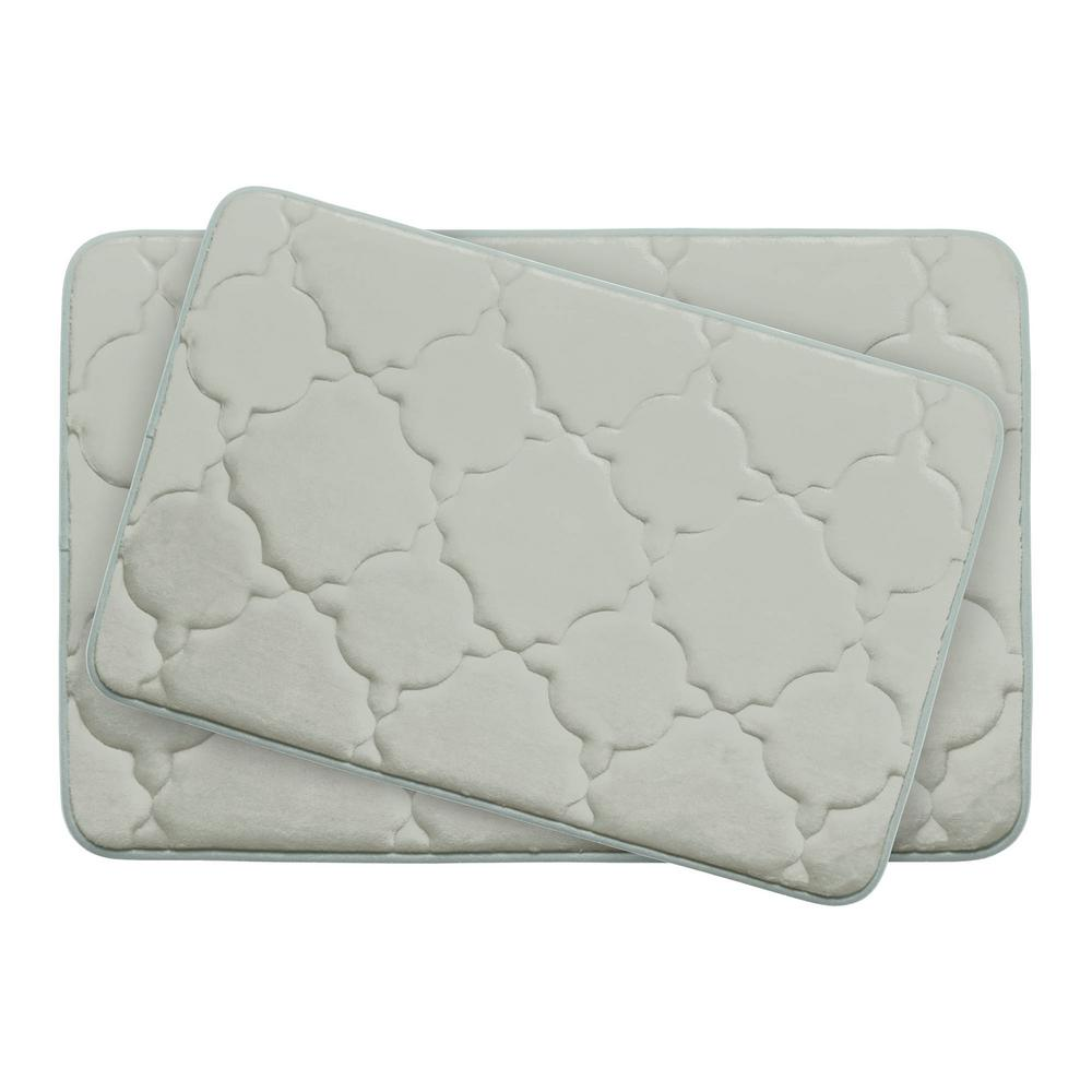 Bouncecomfort Dorothy Light Gray Memory Foam 2 Piece Bath Mat Set