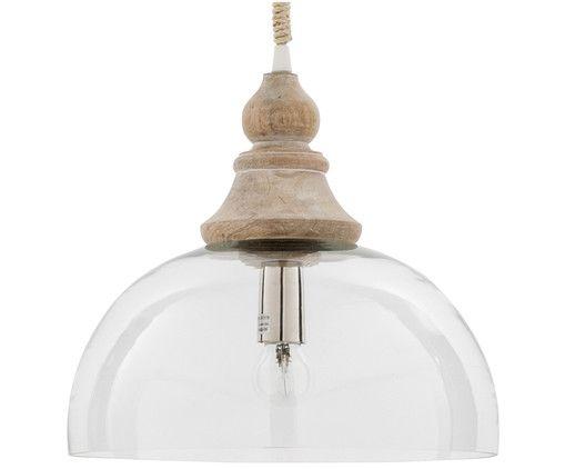 """Rücken Sie Ihr Zuhause ins rechte Licht: Mit dieser Pendelleuchte von Côté Table sorgen Sie nicht nur für angenehme Helligkeit, sondern auch für einen tollen Deko-Akzent an der Decke. Die Pendelleuchte der Serie """"Gizeh"""" sorgt mit halbkugelförmigem Glasschirm und Holzelement für eine herrlich heimatliche Aura und macht die Wohnung zum gemütlichen Cottage in der Provence!"""