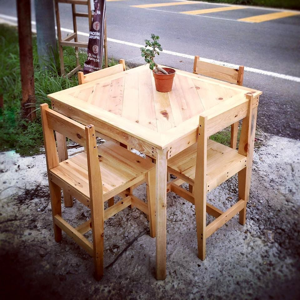 outdoor furniture pallets. Pallet Outdoor Furniture Set - Dining Table And Chairs 30 DIY Ideas For\u2026 Pallets