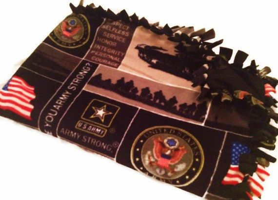 United States Army Fleece Tie Blanket Us Military Armed