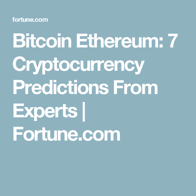 cryptocurrency experts predictions
