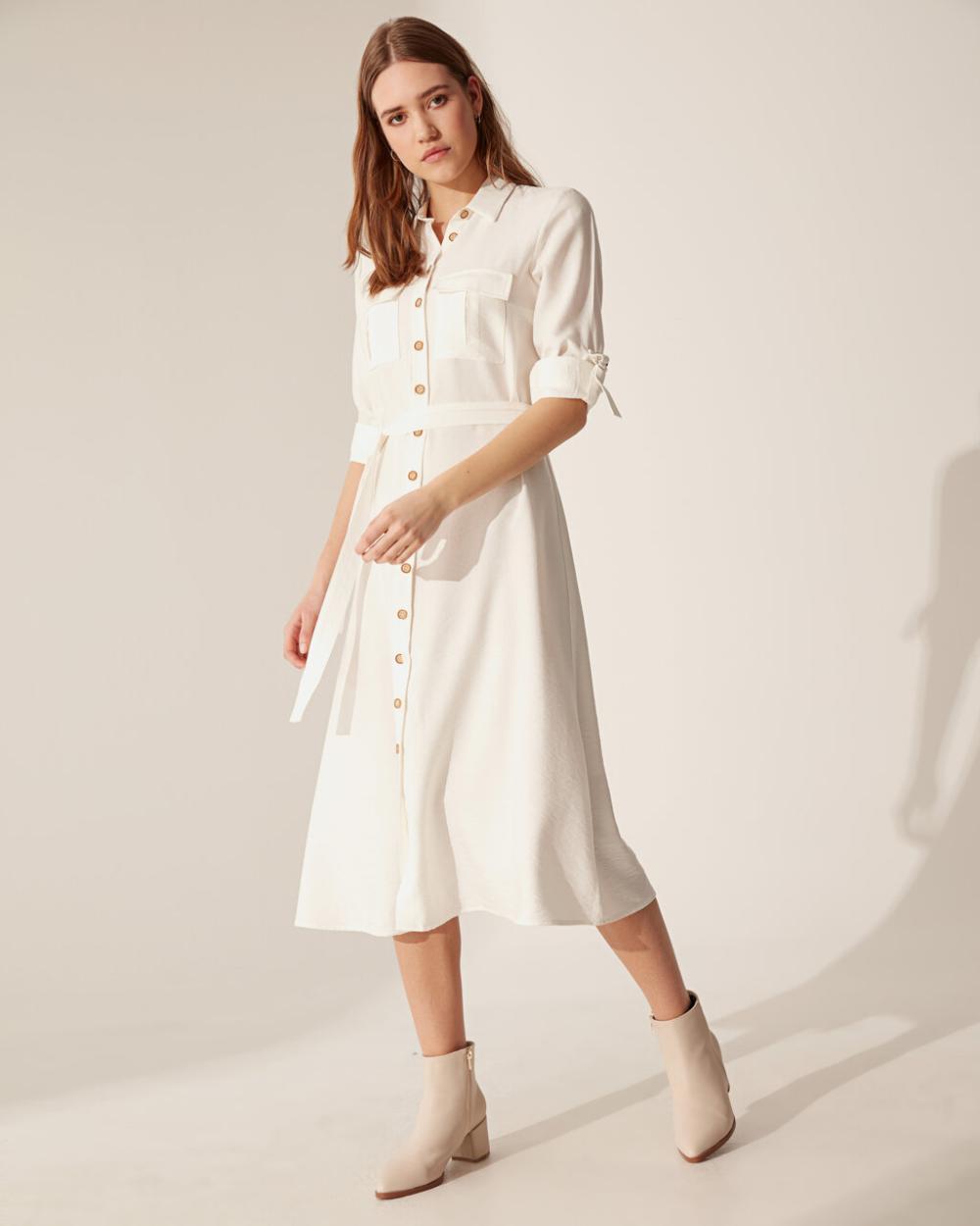 Beyaz Dokulu Kumastan Kusakli Gomlek Elbise Lc Waikiki In 2020 Shirt Dress Fashion Dresses