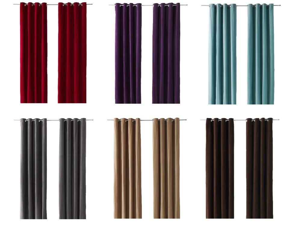 IKEA Sanela Pair Of Curtains 2 Panels Blackout Grommet Top Velvet Drapes 98 New Traditional