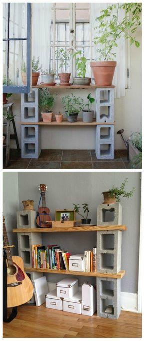 Muebles con bloques de hormign Estanteras Bloques y Muebles