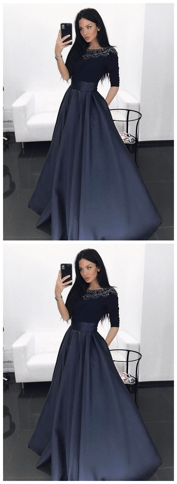 Prom dress elegant navy prom party dresses with half sleeves beaded
