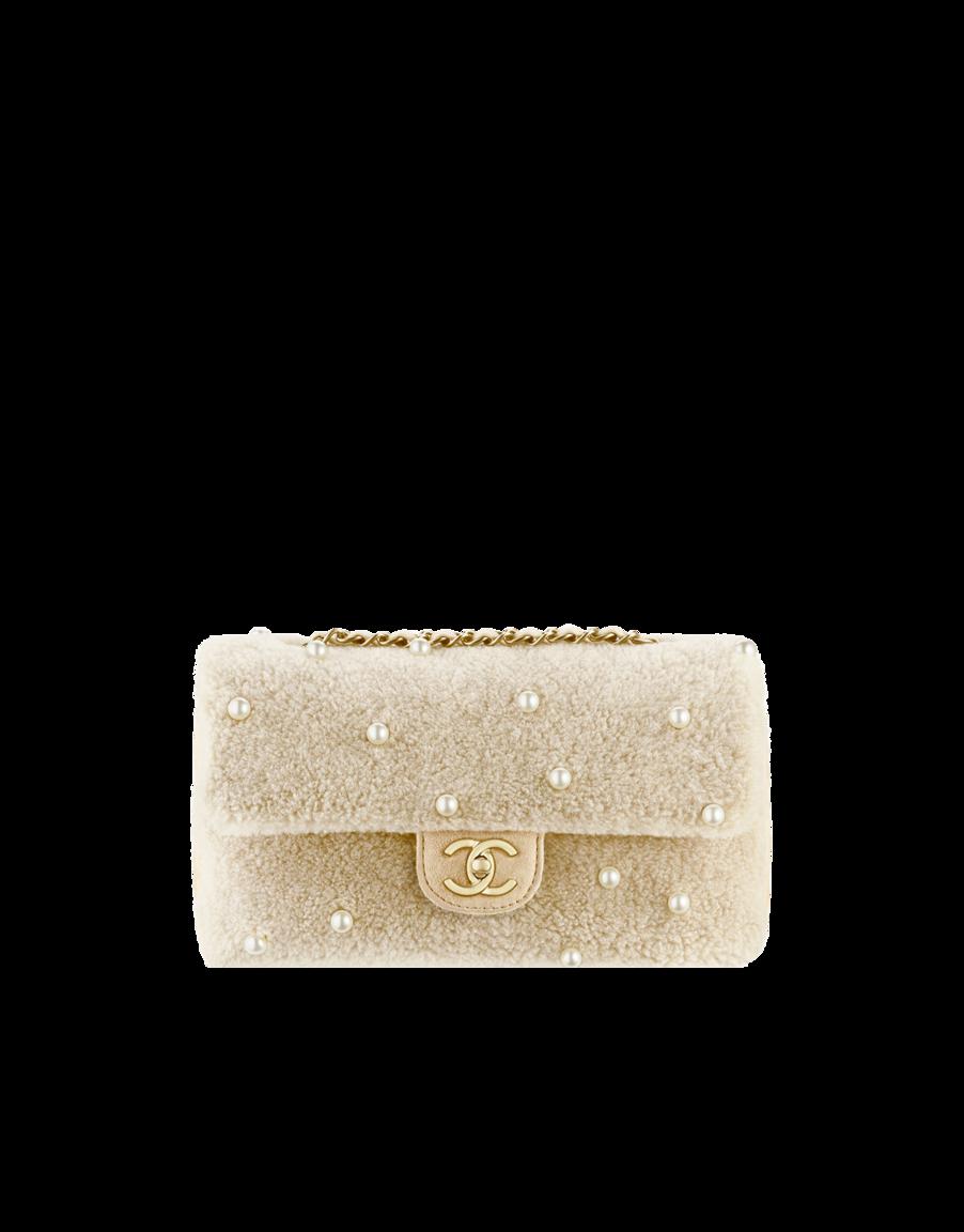 fb8b62480767c6 Shearling flap bag embellished... - CHANEL   ♥ Objects I desire ...