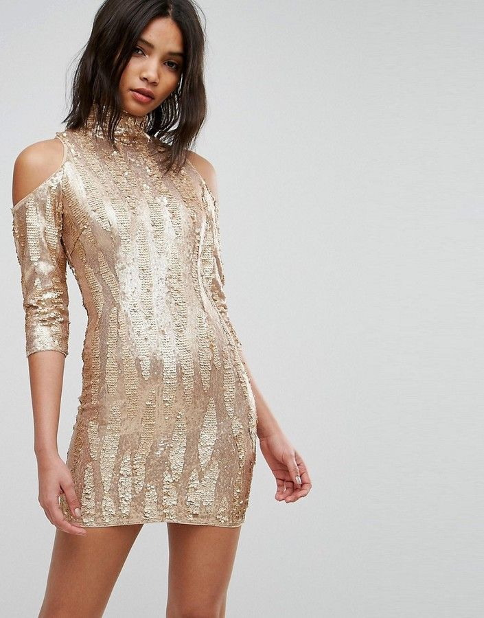 ba617c4a231a TFNC High Neck Sequin Mini Dress With Cold Shoulder | Products