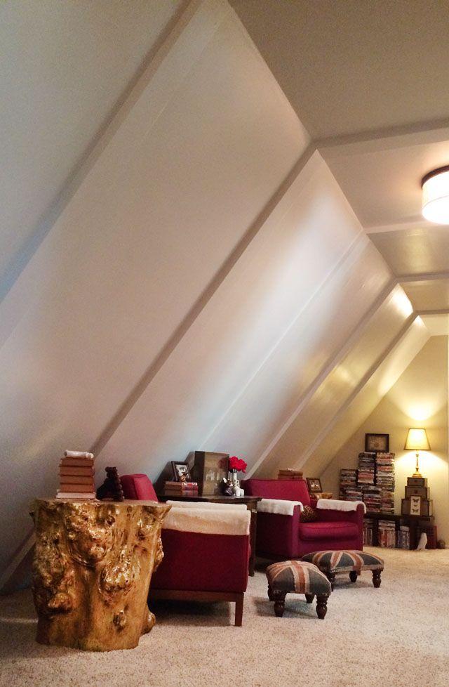slanted ceiling long hallway sitting area