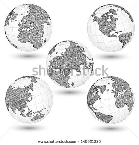 Set of world map earth globe vector line sketched up illustrator set of world map earth globe vector line sketched up illustrator eps 10 earth pinterest gumiabroncs Images