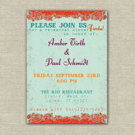 Printable fiesta wedding rehearsal dinner by AmysStationeryShoppe - printable dinner invitations