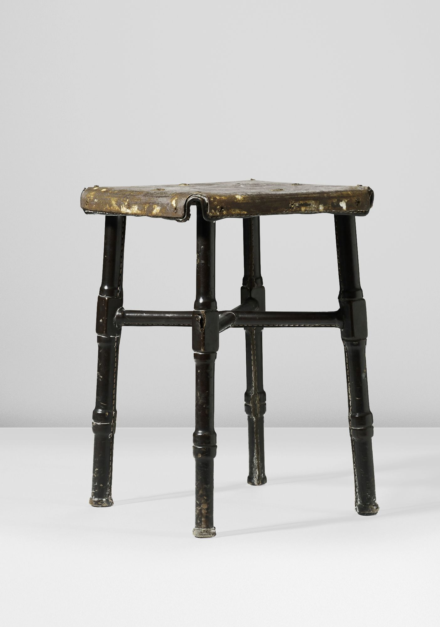 Jacques Adnet, Stool, France, C 1950 Saddle Stitched Leather Over Steel