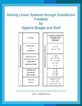 Solving system of linear equations by substitution foldable math class fandeluxe Image collections