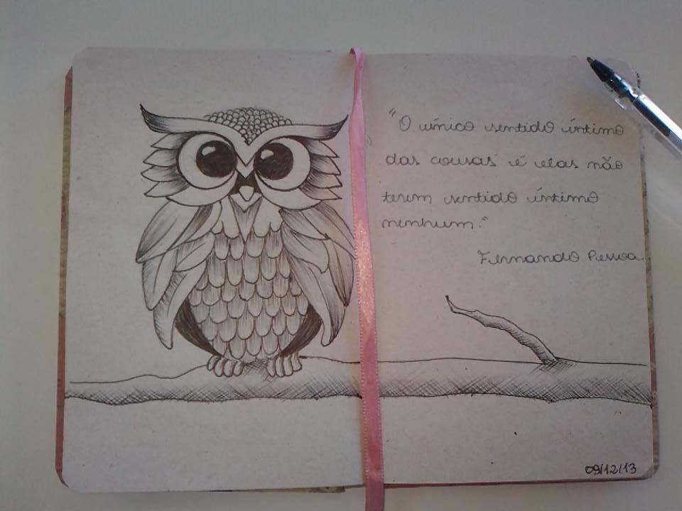 Desenho coruja caneta Bic, por Jéssica Ramos