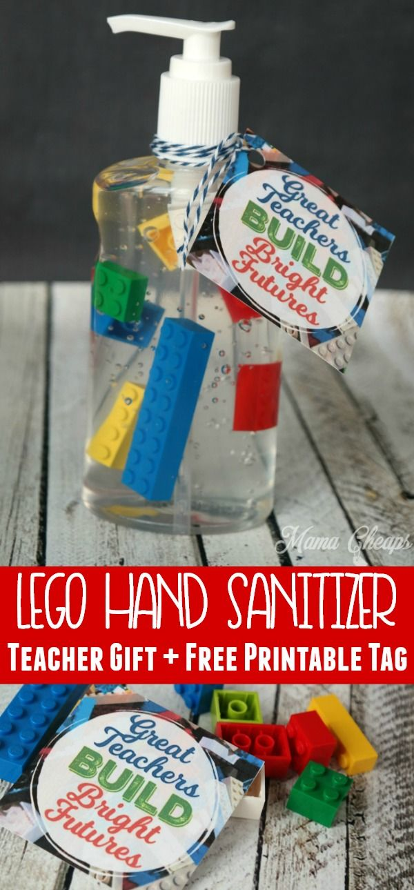 LEGO Hand Sanitizer Teacher Gift + Free Printable Tag #cheapgiftideas