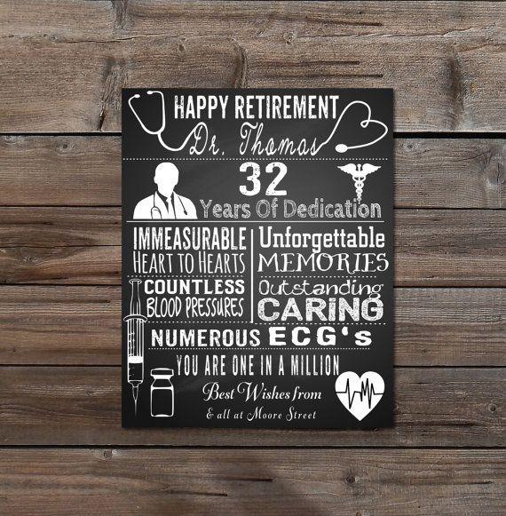 nurse retirement gift doctor retirement personalised typography