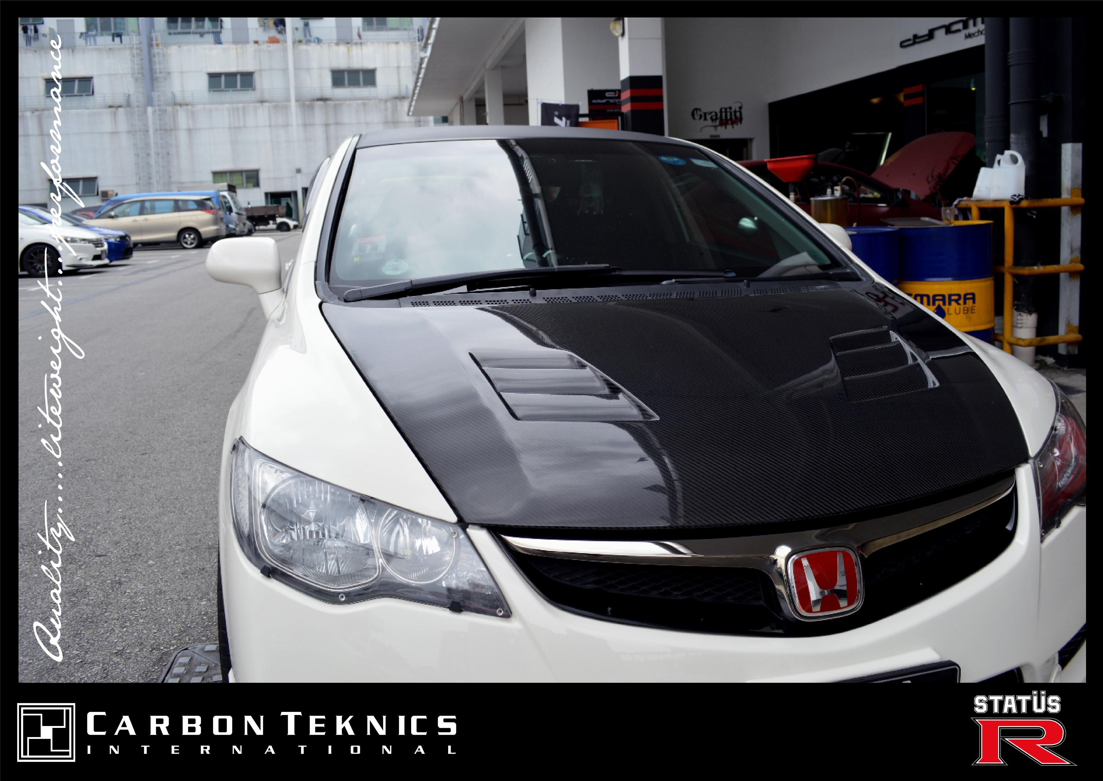 Carbon fiber mugen style front hood for civic fd2r photo 05