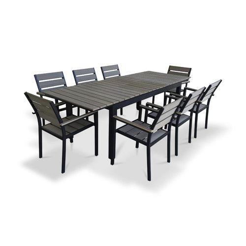 Vermont Extendable Garden Table And Chair Set: 9 Piece Extendable Outdoor Dining Set