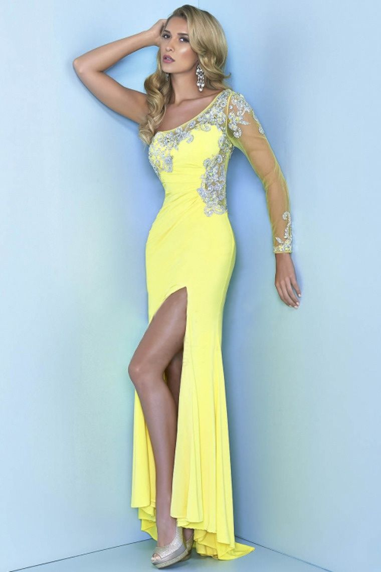 Start out searching for your perfect long one shoulder yellow prom ...