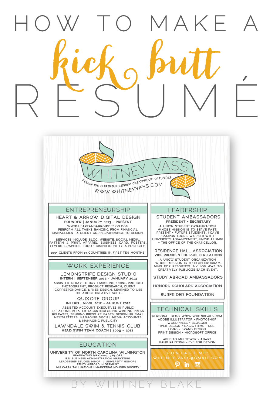 How To: Make A Kick Butt Resumé | Whitney blake, Design color and ...
