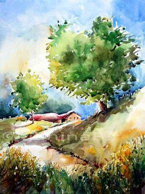Dorfliche Landschaft Aquarell Landschaften Malen