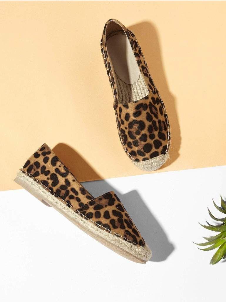 Leopard Print Espadrille Flats | Flat