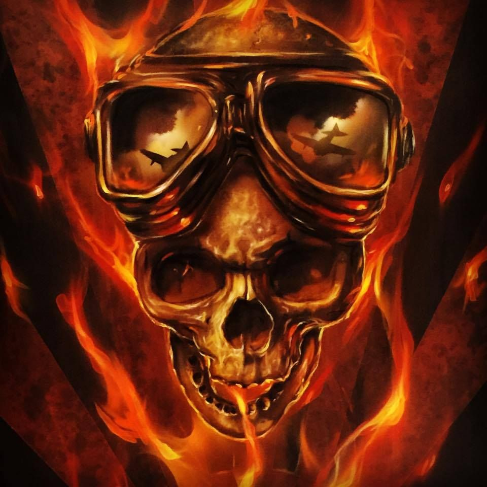 Airbrushed Aviator Skull - Painted Mike Lavallee Of