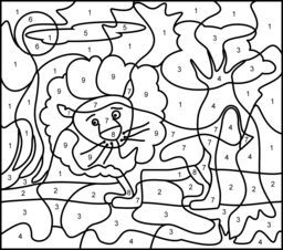Color By Numbers Pre K Activity Lion Coloring Pages Coloring Pages Disney Coloring Pages