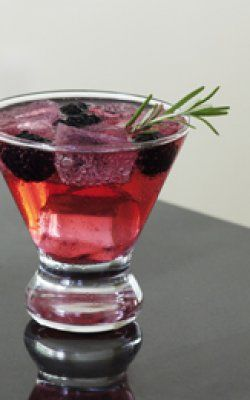 Black Rose  -Ingredients:  2 parts vodka  1 part blackberry-rosemary soda water*  Directions:  Pour vodka over ice in a highball glass. Then add soda and stir.