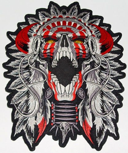 53c609a5192b0 Horned Indian Chief Motorcycle Vest Back Patch