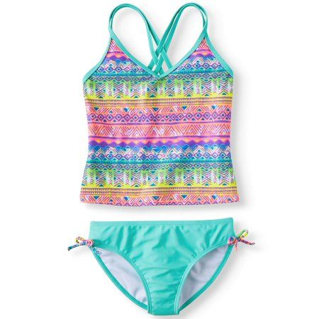 NWT Justice Girls Size 10 or 12 PLUS Pink Blue Green Ruffle Tankini Bathing Suit