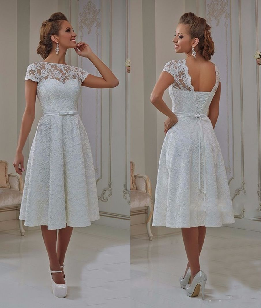 Vintage lace tea length short wedding dresses with cap sleeves