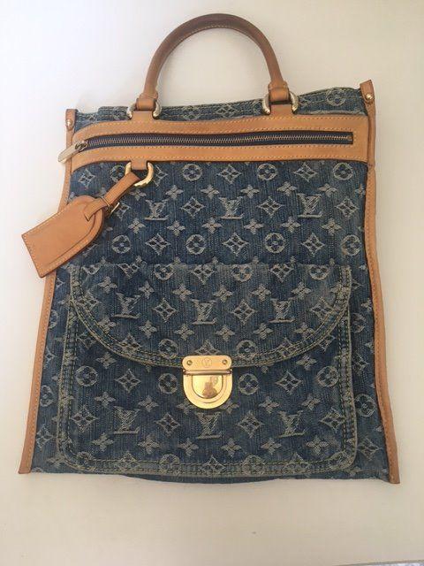 56e5ba5819f50 Louis Vuitton - blauw Denim Monogram Denim Sac Plat tas Tijdloze Vuitton  spijkerbroek boodschappentas in zeer