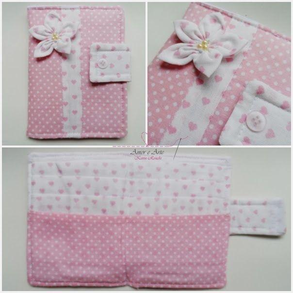 Carteira em tecido - Rosa Flor - Poá e Corações em rosa bebê