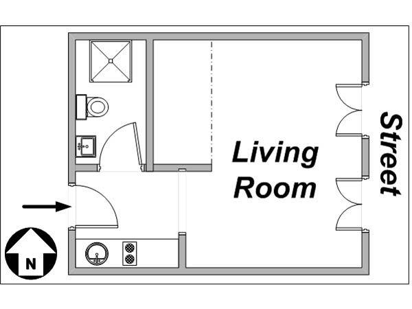 Paris Studio T1 logement location appartement - plan schématique  (PA-3152)