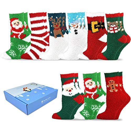 77d2718c4ad Beautiful TeeHee Winter Holiday Cozy Fuzzy Fluffy Fun Slipper Socks 9-Pack  with Gift Box