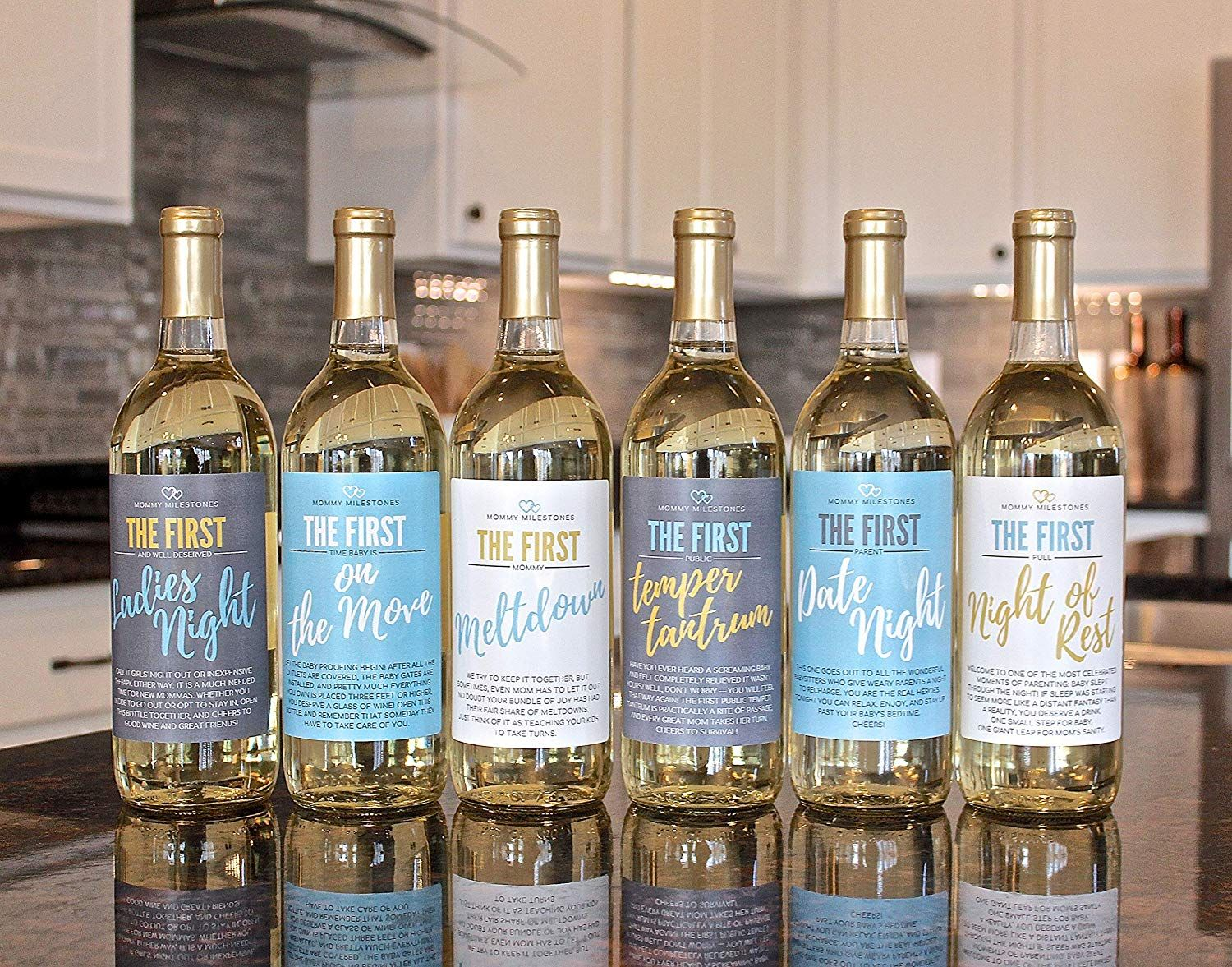Bridal Shower Wine Bottle Labels for Engagement Party Set of 5 Year of Firsts Milestone Designs by Bliss Paper Boutique Bachelorette Party or Wedding Gift