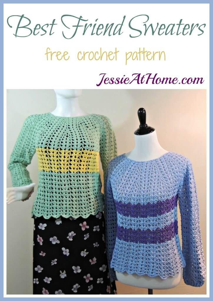 Best Friend Sweaters - free crochet pattern   Blusas, Blusas tejidas ...