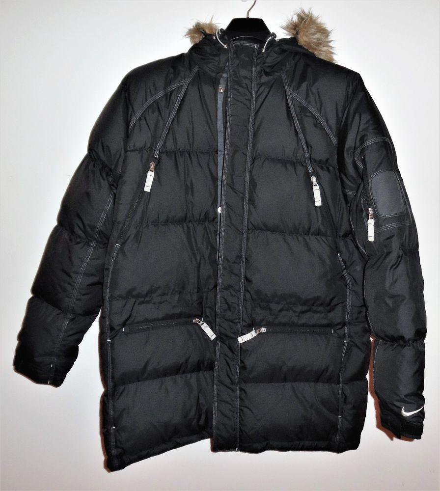 9bae440c39f8 Mens XL Nike Duck Down Puffer Hooded Jacket Coat Black Parka Swoosh NEW NOS   Nike  Parka