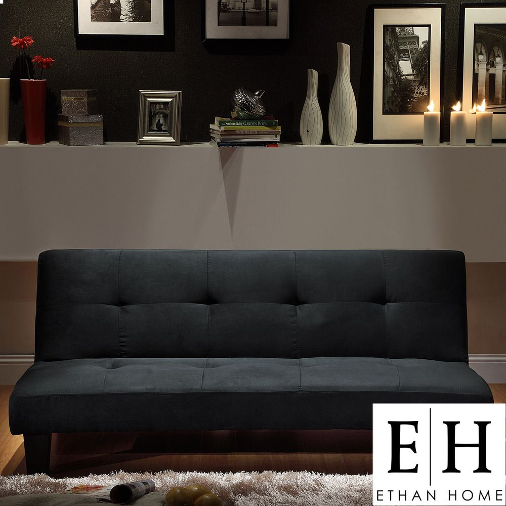 INSPIRE Q Bento Black Microfiber Suede Modern Mini Futon Sofa Bed by  iNSPIRE Q