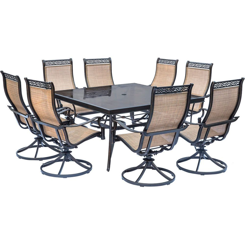 Wondrous Hanover Monaco 9Pc Dining Set 6 Swivel Sling Chairs 60 Andrewgaddart Wooden Chair Designs For Living Room Andrewgaddartcom