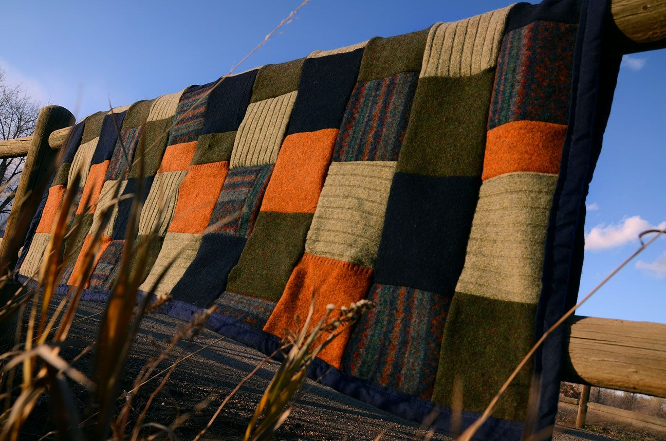 Upcycled Recycled Felted Sweater Blanket in Green, Blue, Orange