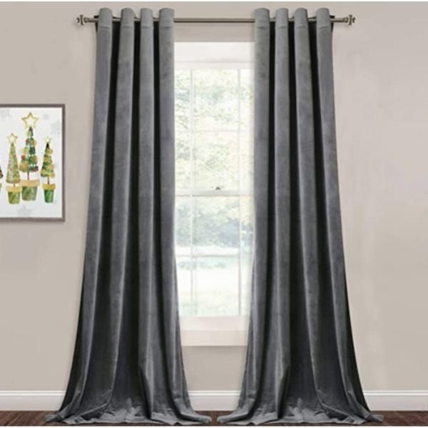 Grey Velvet Curtains for Living Room - 96 inches Long Light Blocking Velvet Curtain Panels Privacy Grommet Window Drapes for Bedroom / Sliding Glass Door, W52 by L96 inches, 2 Panels by StangH