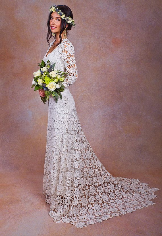 Brigette Crochet Lace Wedding Dress With Lace Long Sleeves