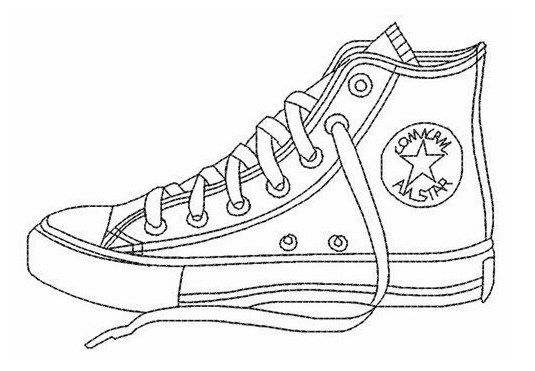 Highly Detailed Converse Sketsa Sepatu Seni